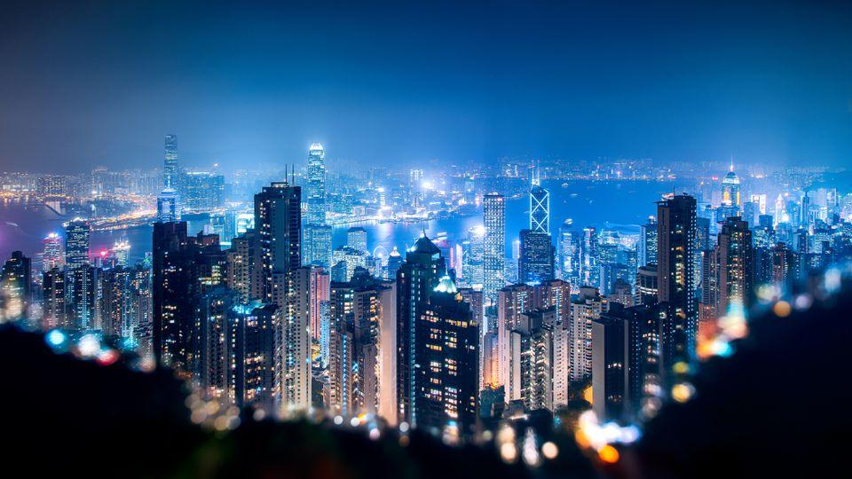 Vista de Hong Kong desde Victoria Peak en la noche