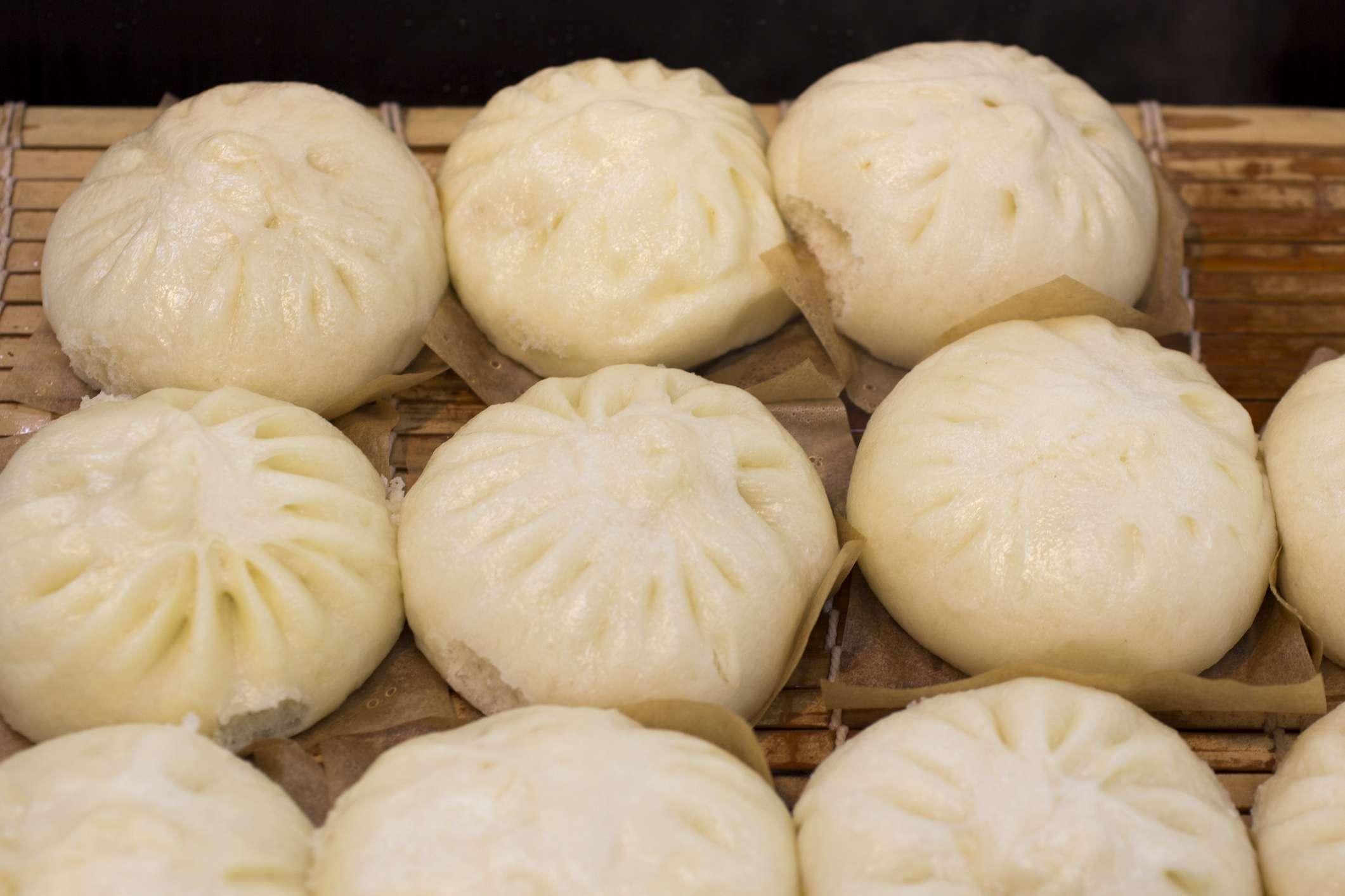 3 Rows of soft bready dumplings