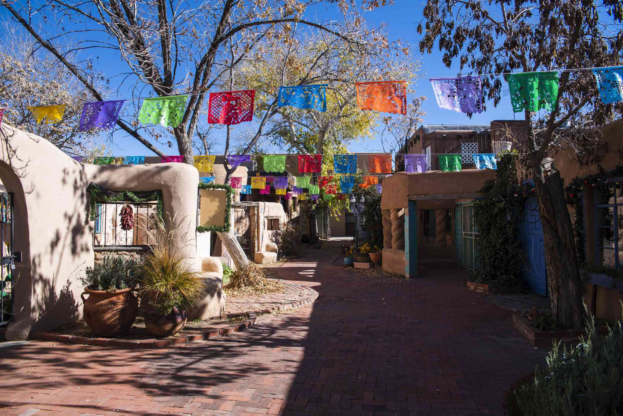 The touristic district in the historic center of Old Town Albuquerque, New Mexico