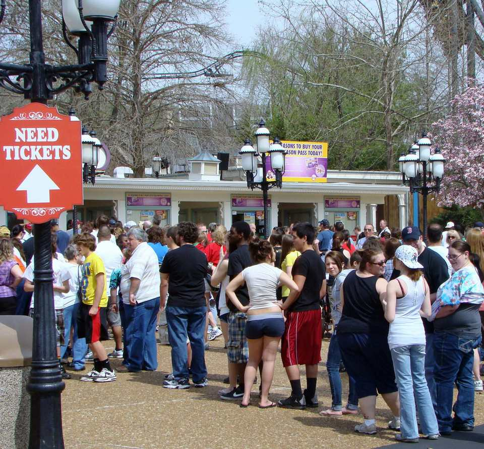 Admissions lines can be long at Six Flags
