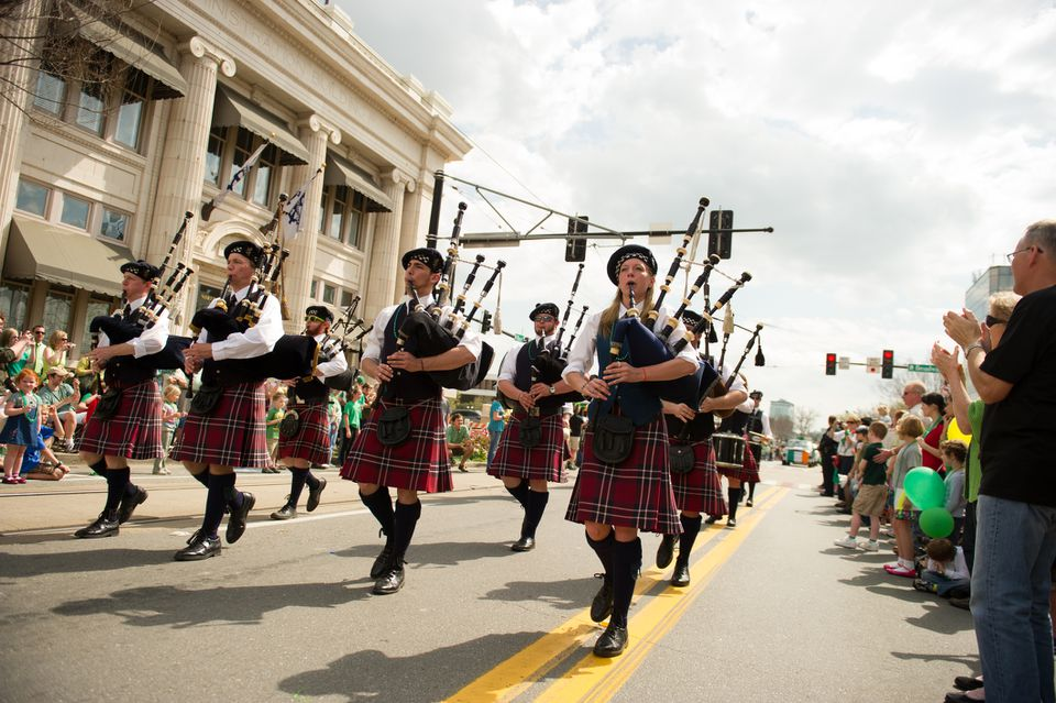 Bagpipe players play in Little Rock St. Patrick's Day parade
