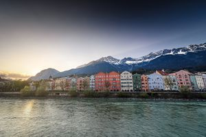 Innsbruck candy color building in evening before sunset