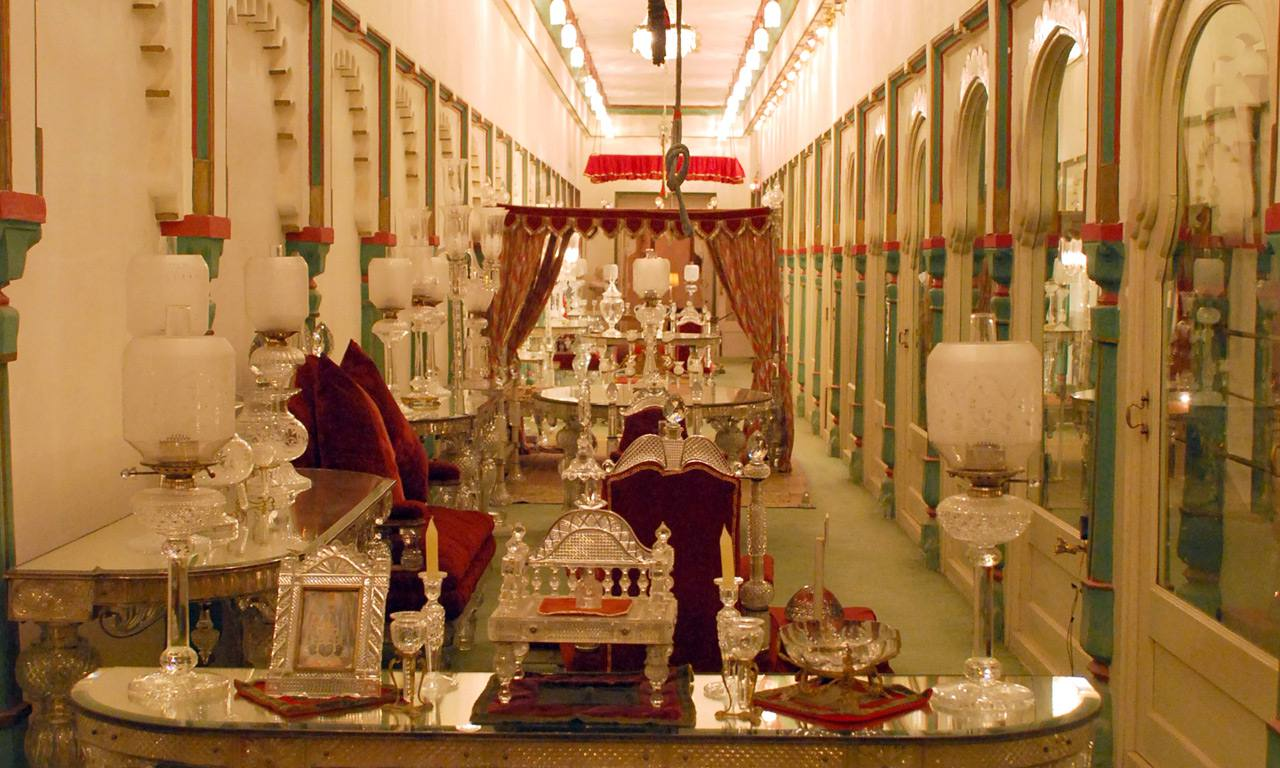 narrow room with many different types of crystal decorative items