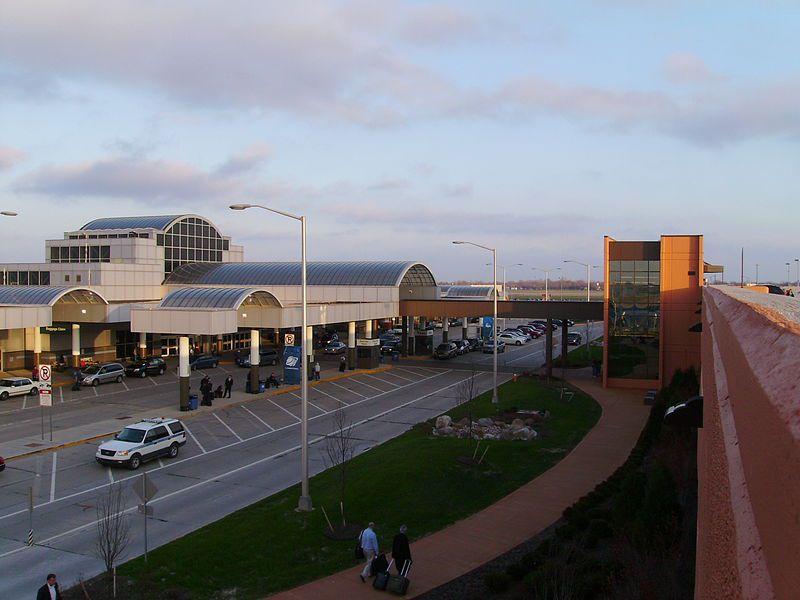 Dayton International Airport's terminal building, atop the parking garage.