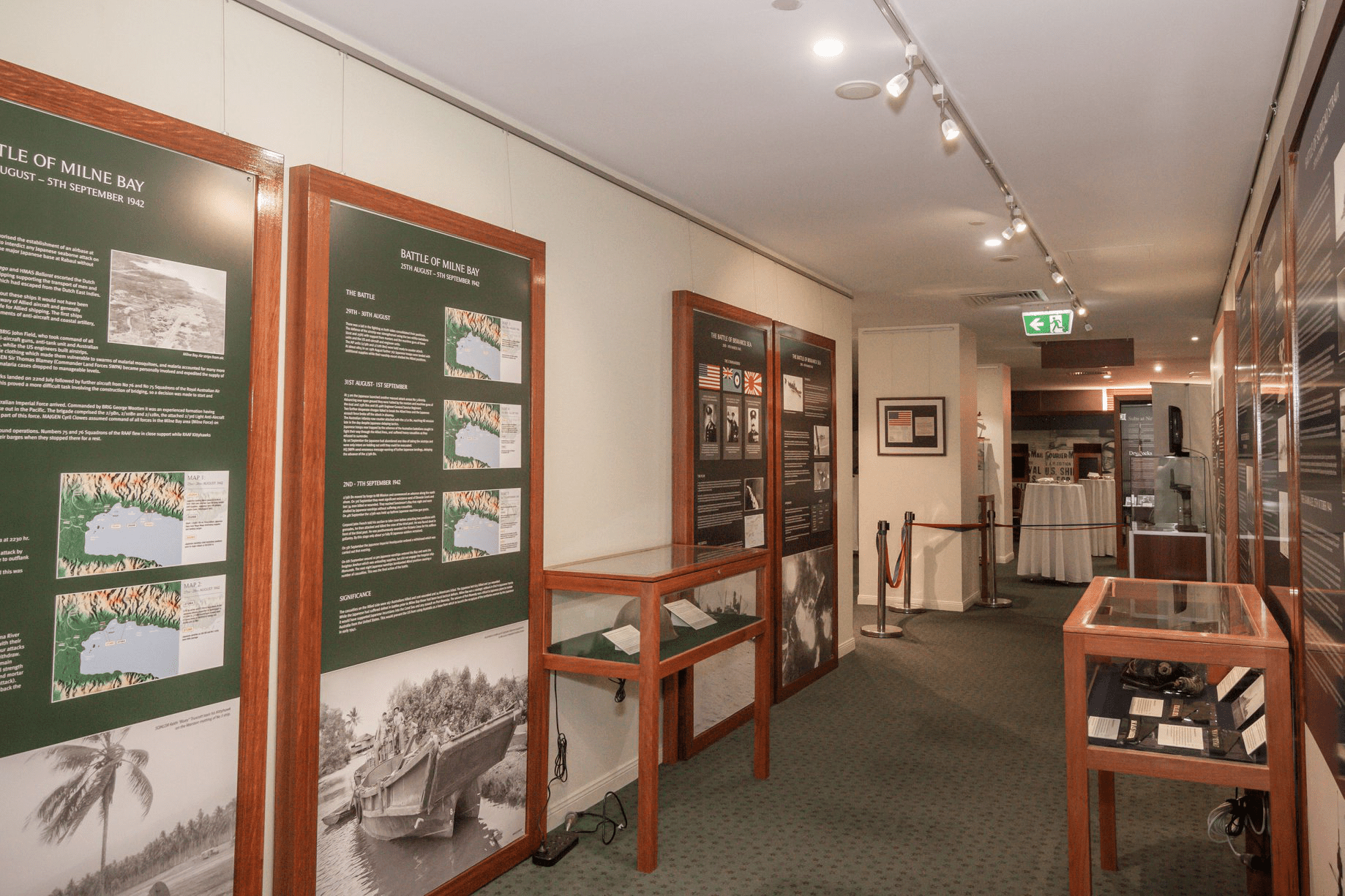 Display cases inside the MacArthur Museum
