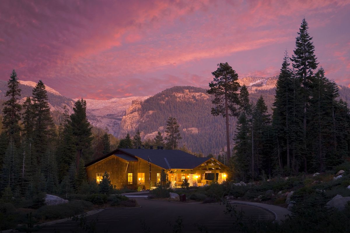 Wuksachi Lodge in Sequoia National Park, illuminated at sunset