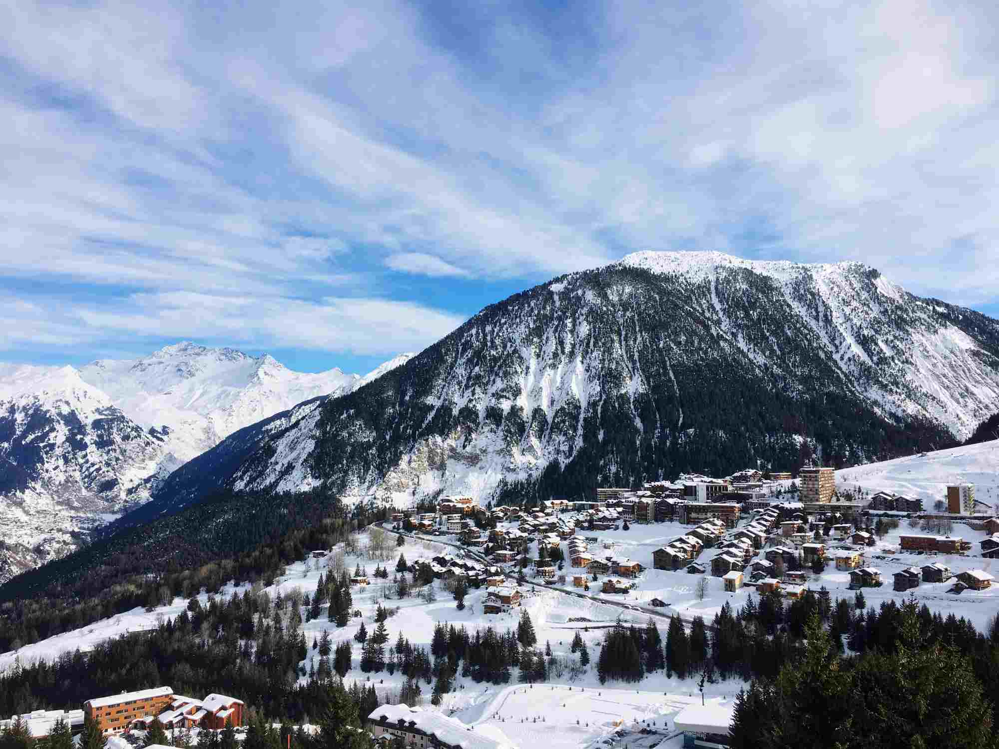 Scenic view of snowcapped mountains in Courchevel, France