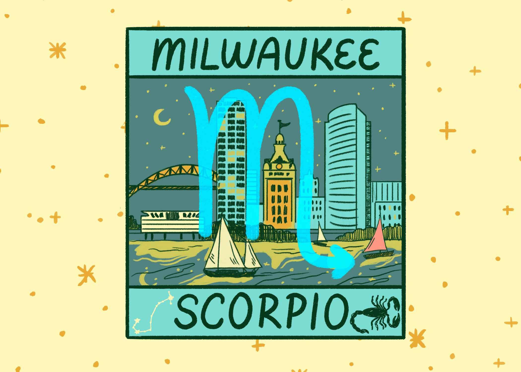 Illustration of Milwaukee and Scorpio