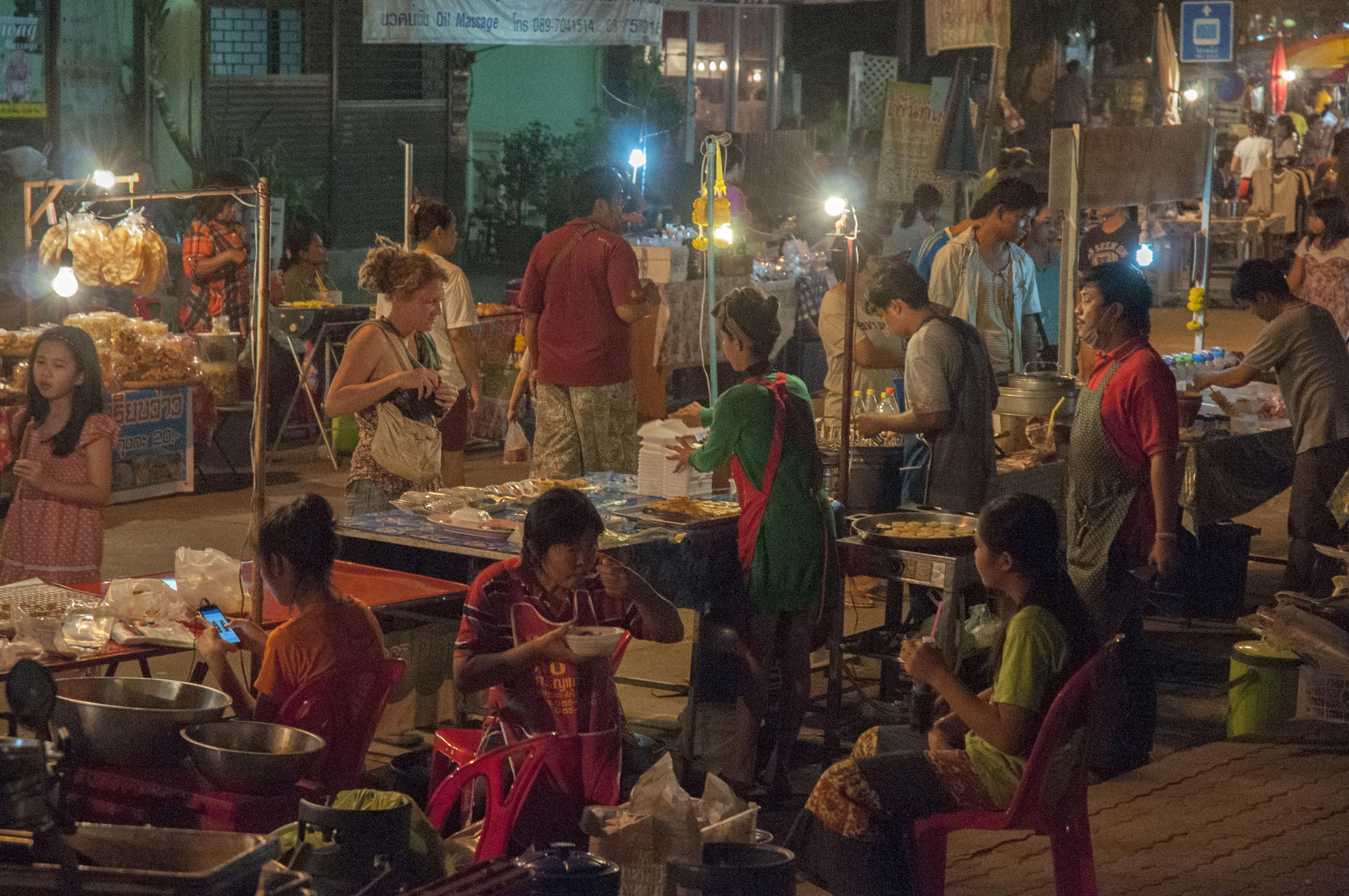People in the Sukhothai night market
