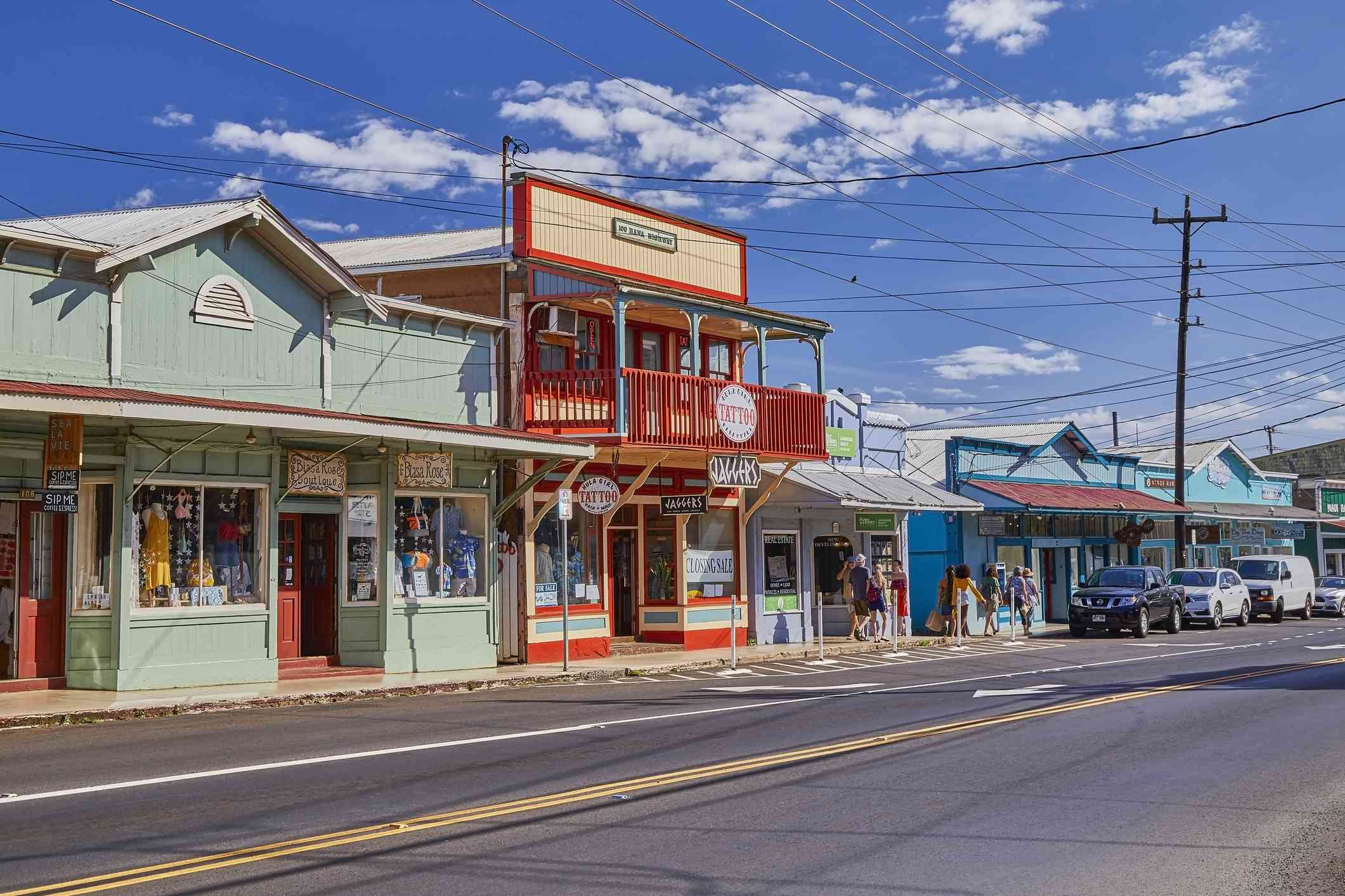Picturesque old fashioned Shops and buildings of the historic town of Paia,Maui,Hawaii,