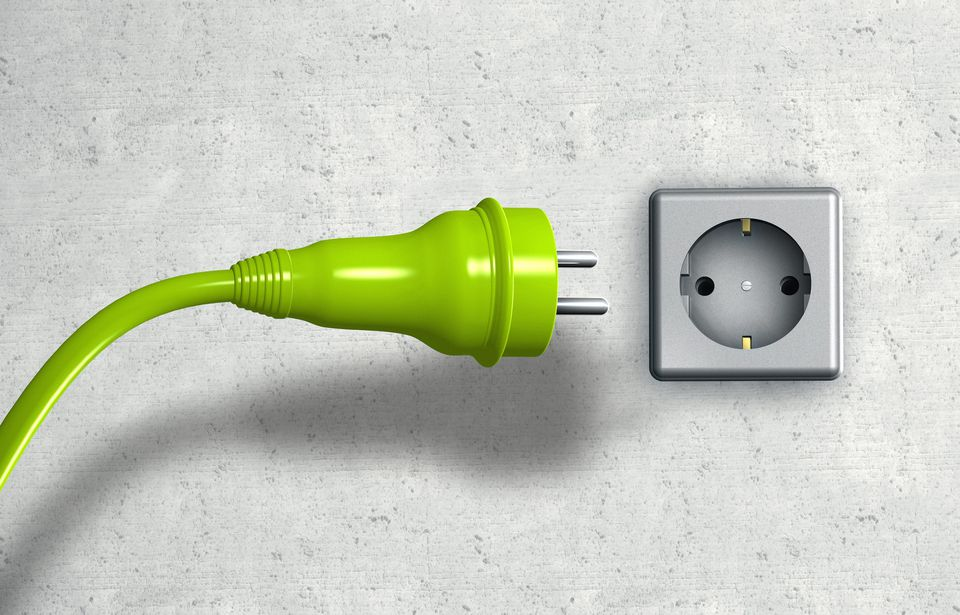Green european power plug + green cable