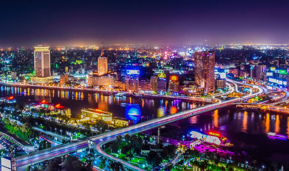 Aerial view of Cairo at night