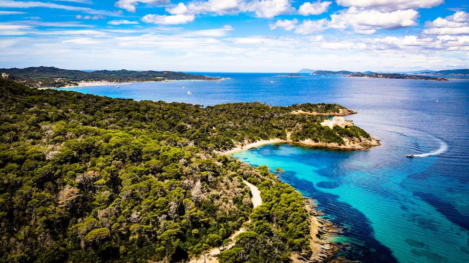 Scenic view of bay against the sky in Porquerolles, France