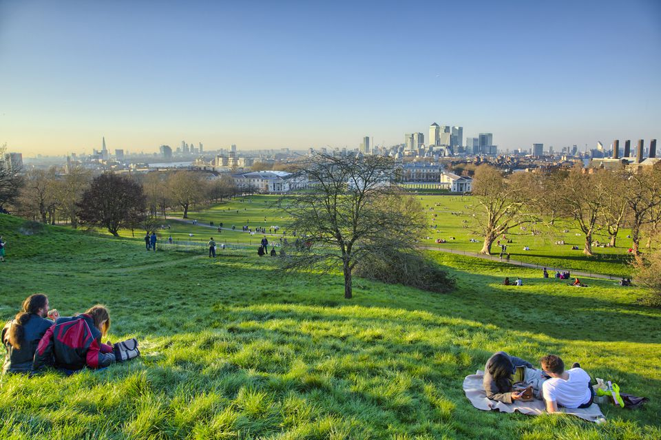View of London Skyline from the Observatory Hill in Greenwich Park.