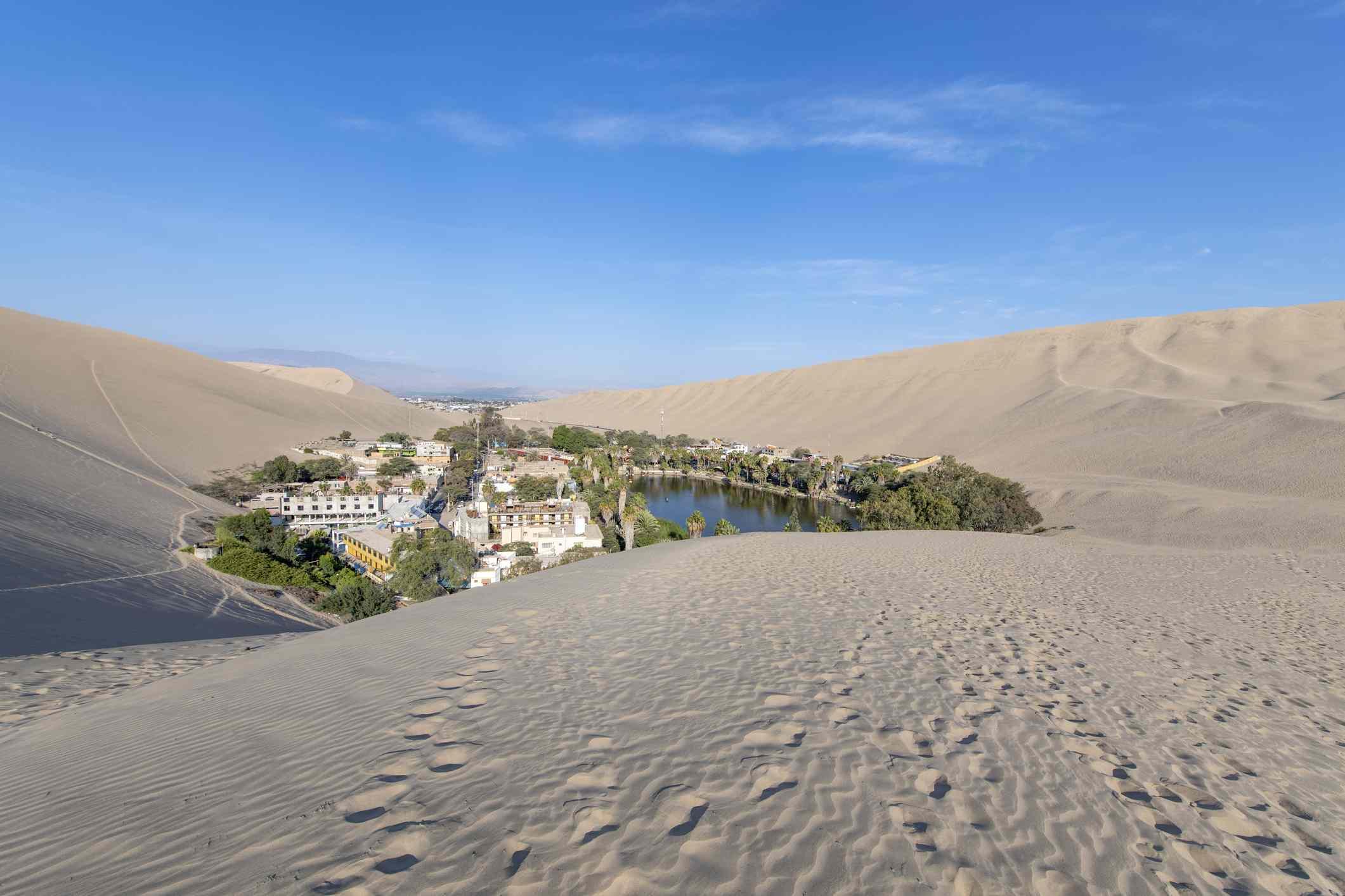 Desert oasis village of Huacachina in Peru