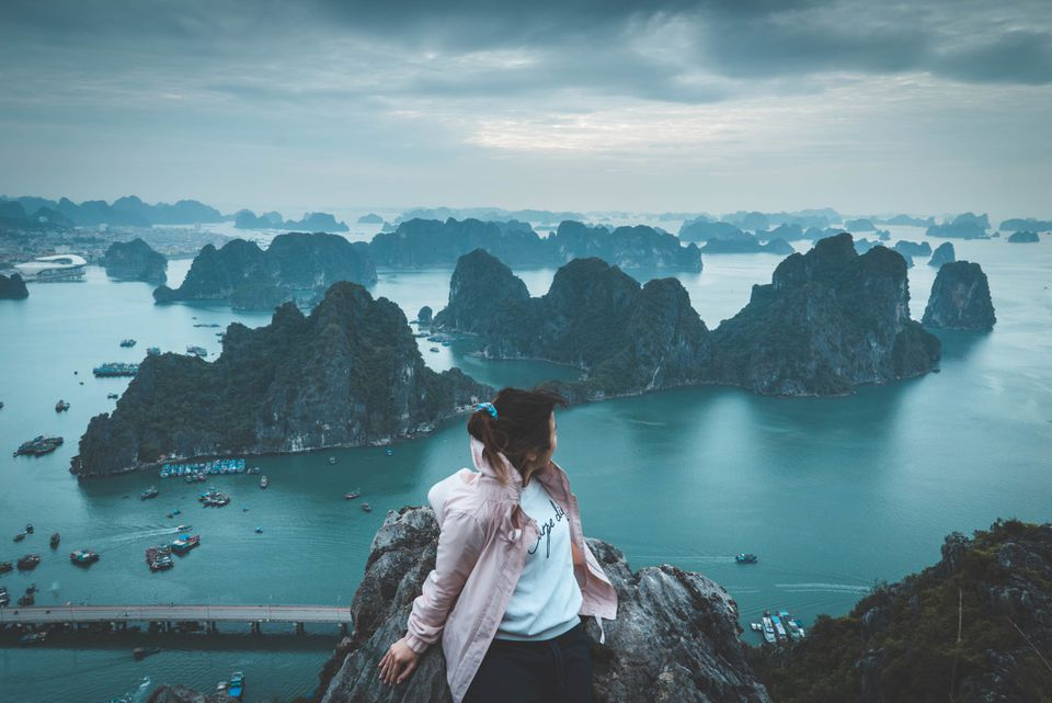 Tourist viewing Ha Long Bay from above