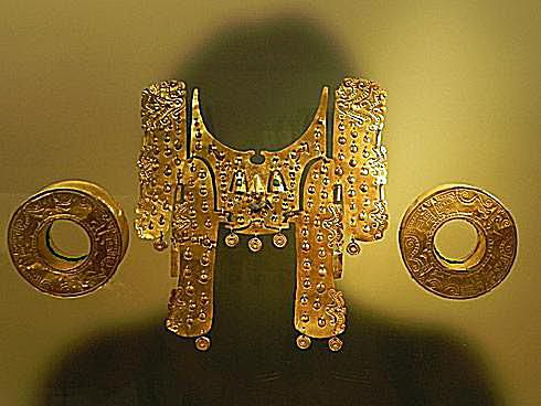Gold ornaments in Gold Museum in Bogota, Columbia