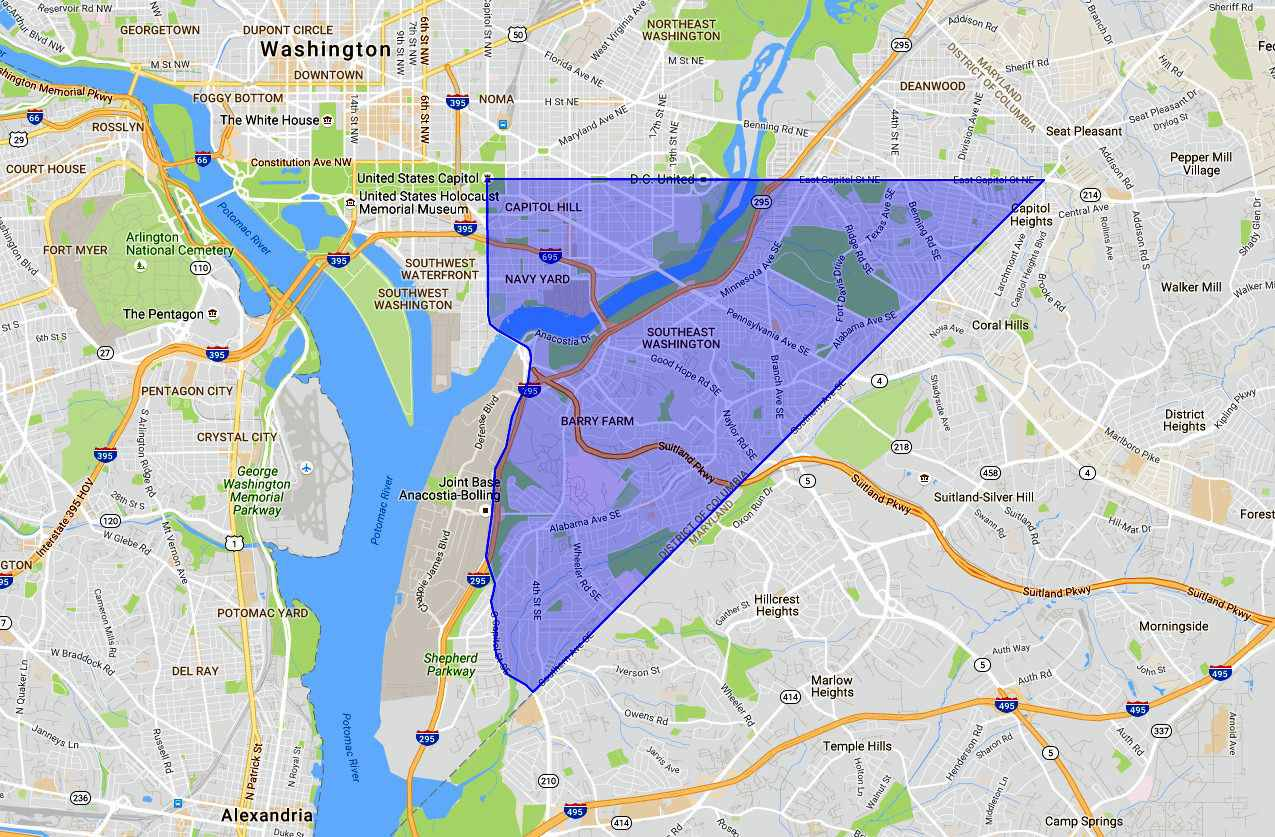 SE Washington DC: A Map and Neighborhood Guide
