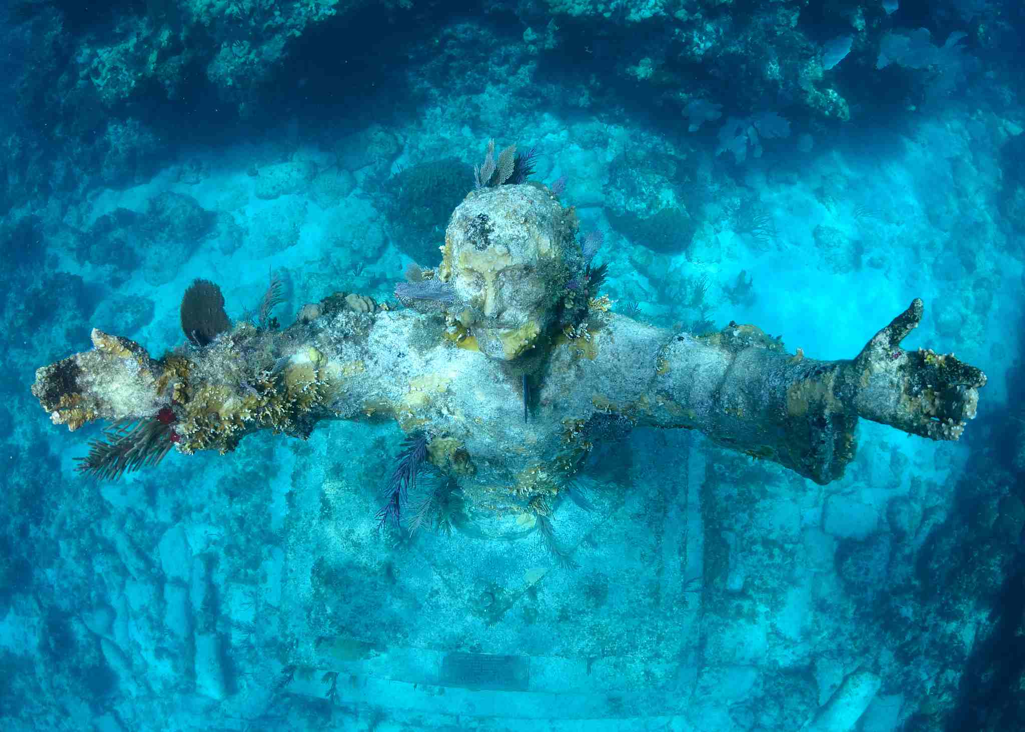 Christ of the Abyss statue viewed from above