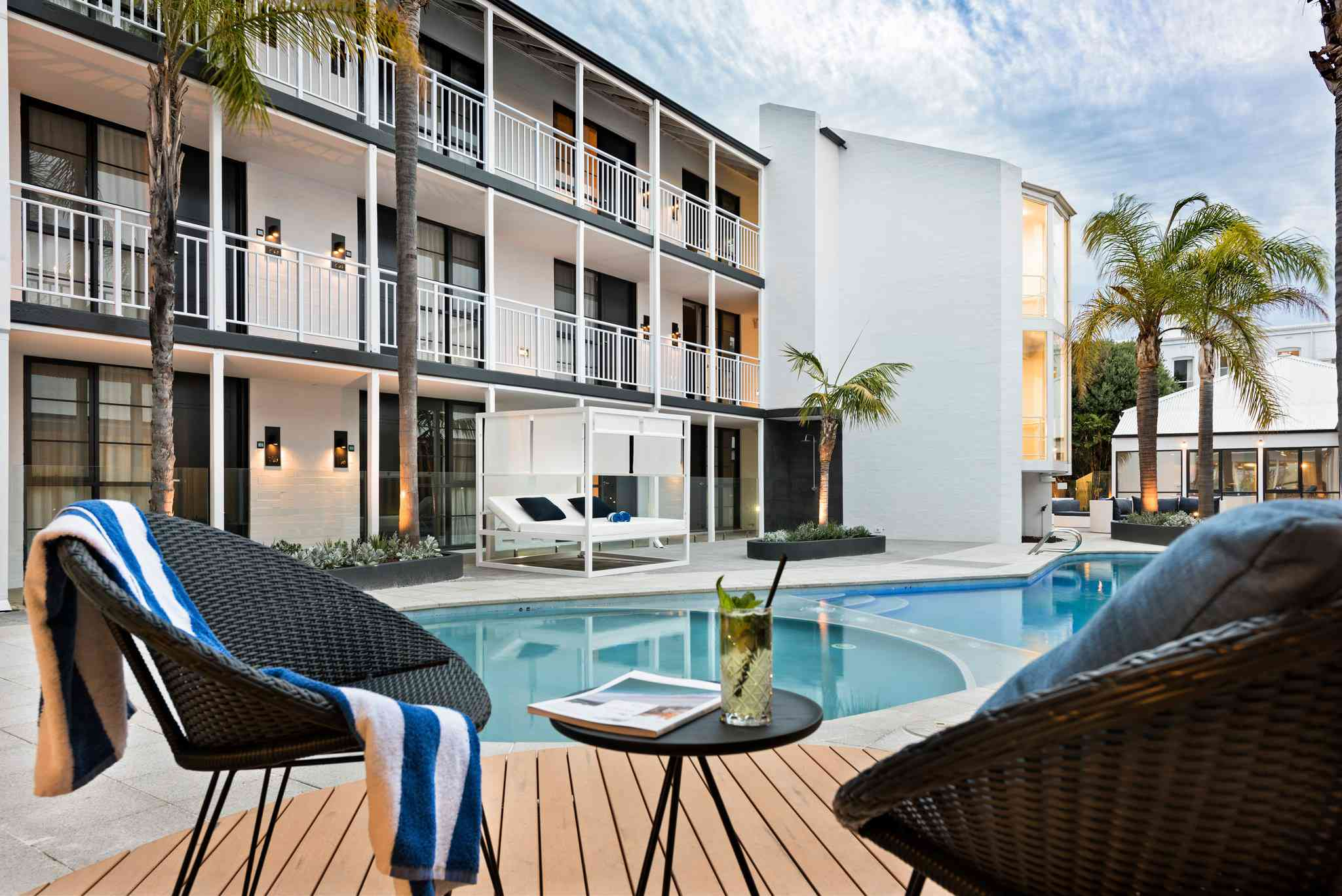 Pool area at Tradewinds Hotel