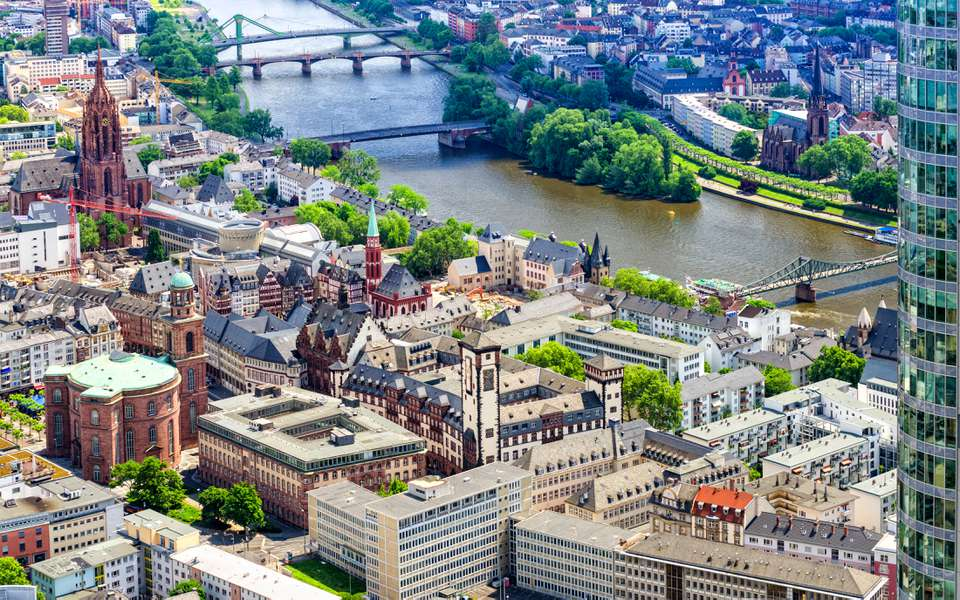 Aerial view on Frankfurt Roemer, Paulskirche and Main