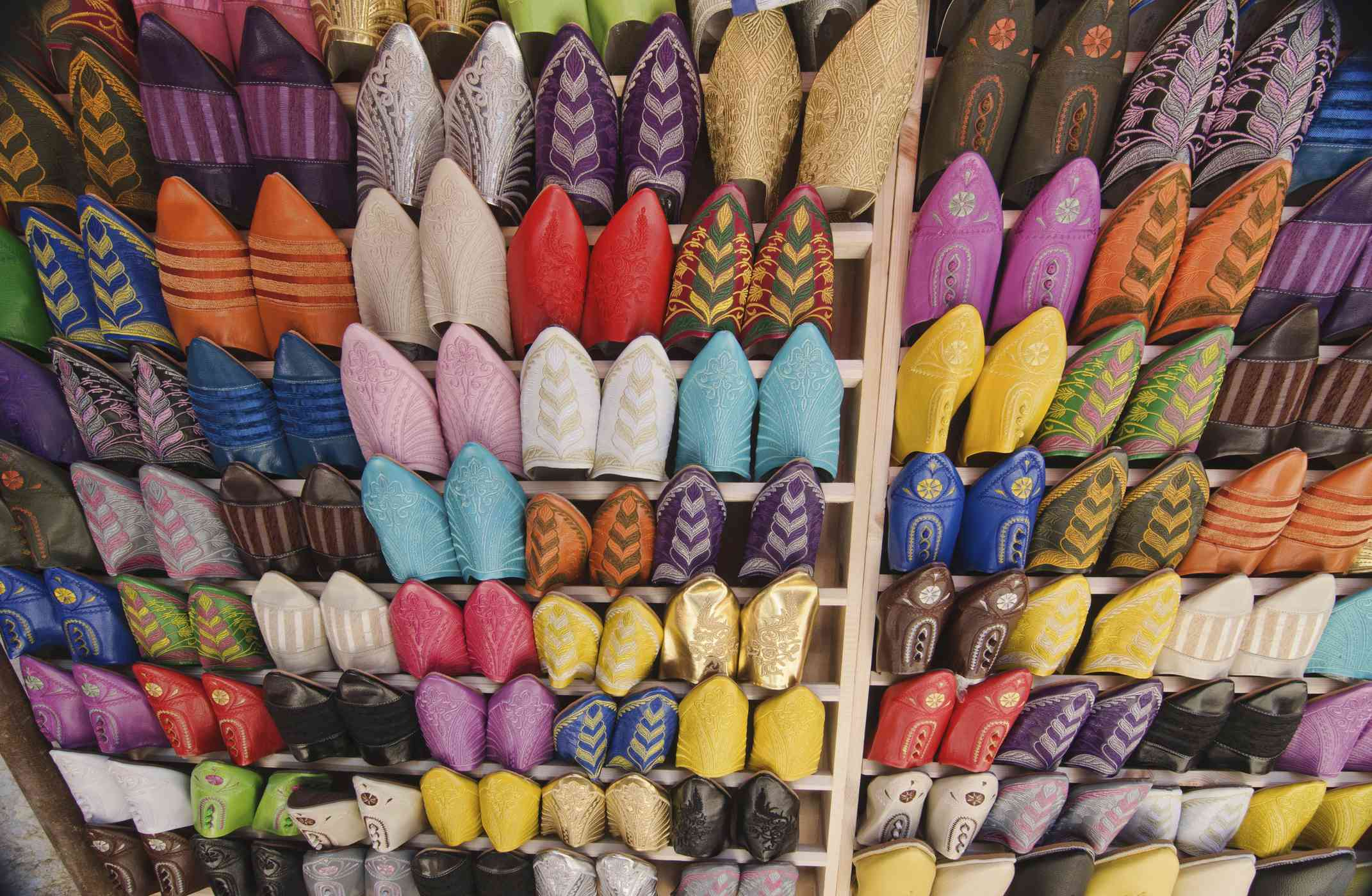 Beaded Moroccan slippers in the Quartier Habous, Casablanca