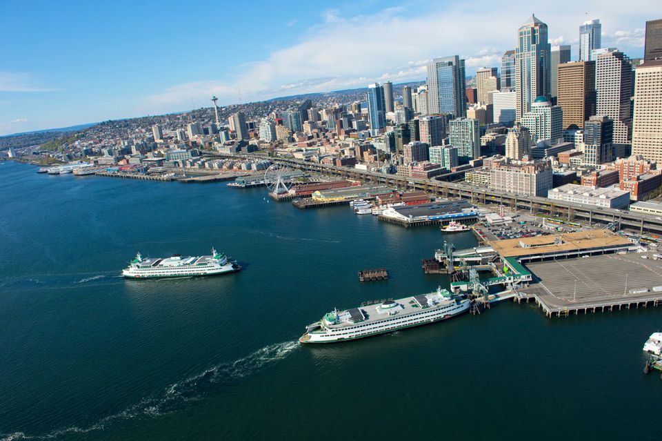 Aerial view of ferries and waterfront, Seattle, Washington State, USA