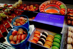 Pierre Herme macarons displayed in Paris