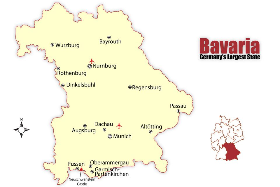 map of bavaria germanys largest state showing major tourist cities james martin