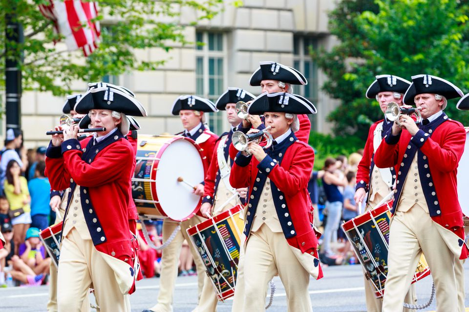 The United States Army Old Guard Fife and Drum Corps in the annual National Independence Day Parade 2015.