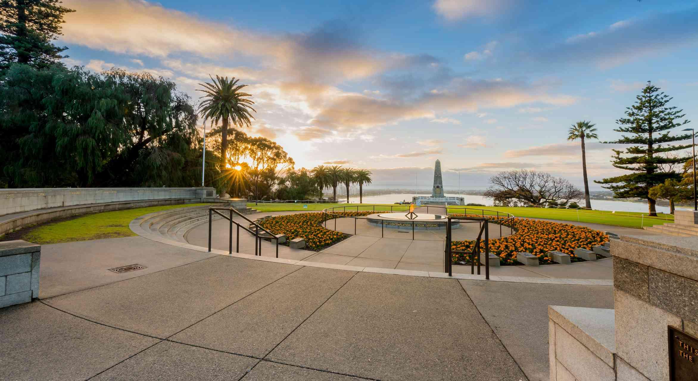 Sunrise at The State war memorial, Perth, Western Australia, Australia