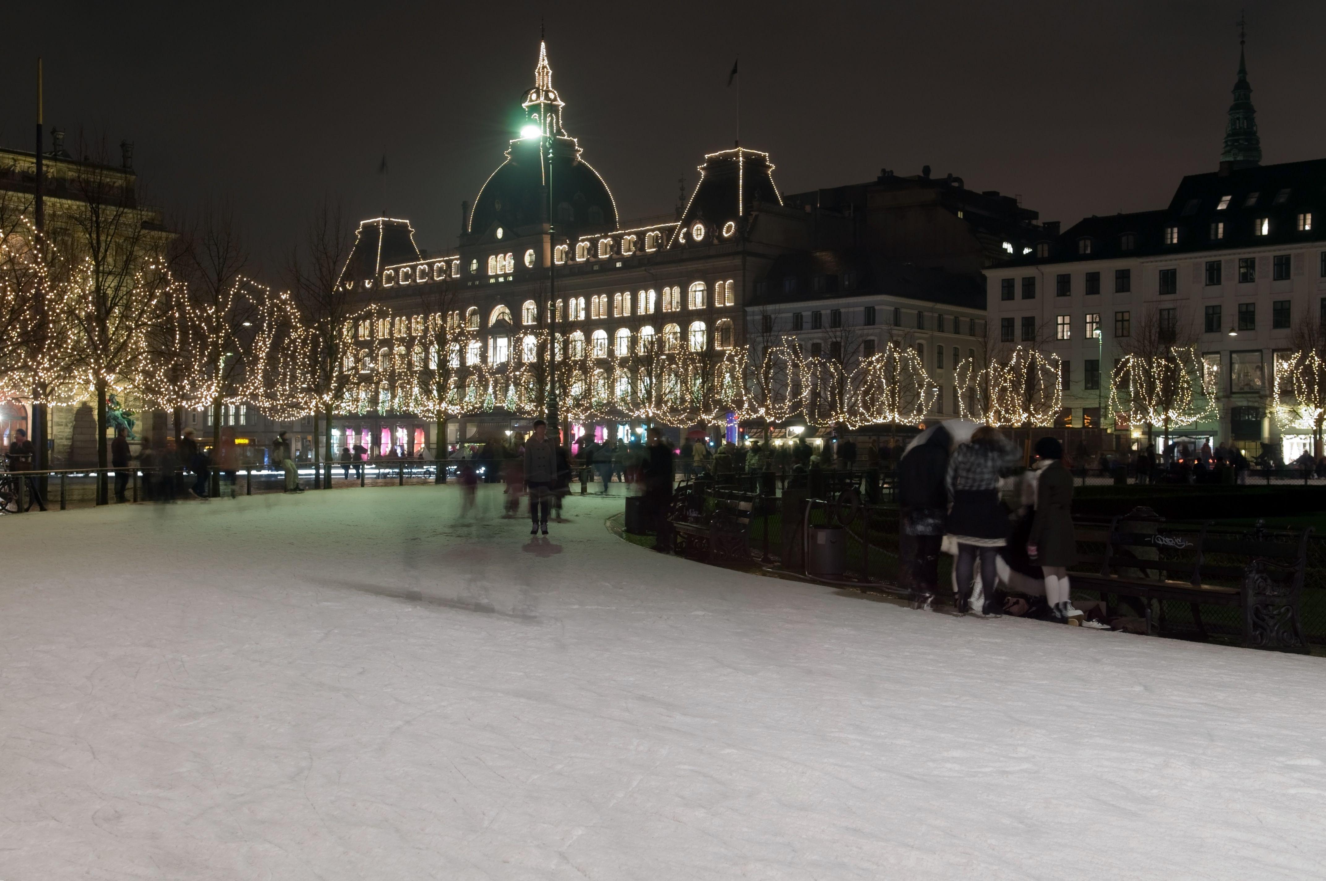 Ice Rink in Copenhagen at night.