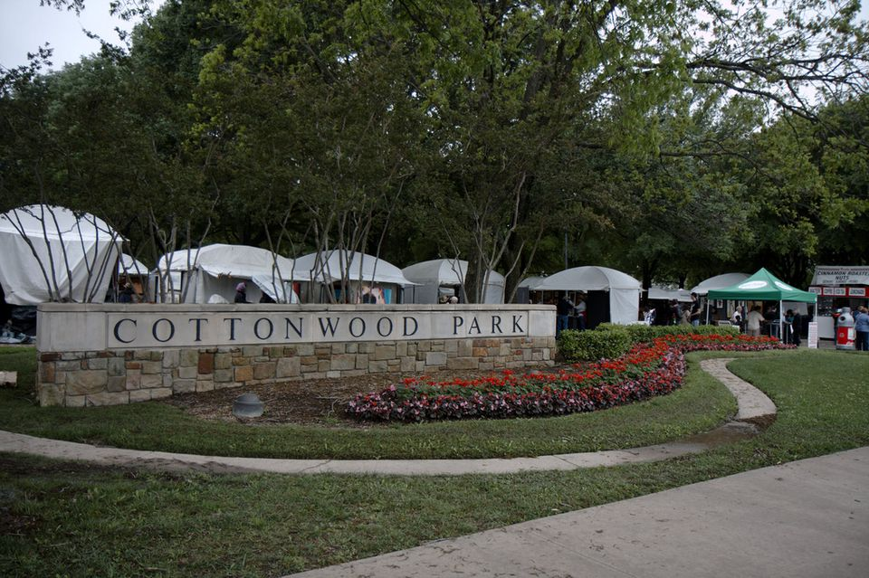 Cottonwood Park in Richardson, TX, location of the annual Cottonwood Art Festival.