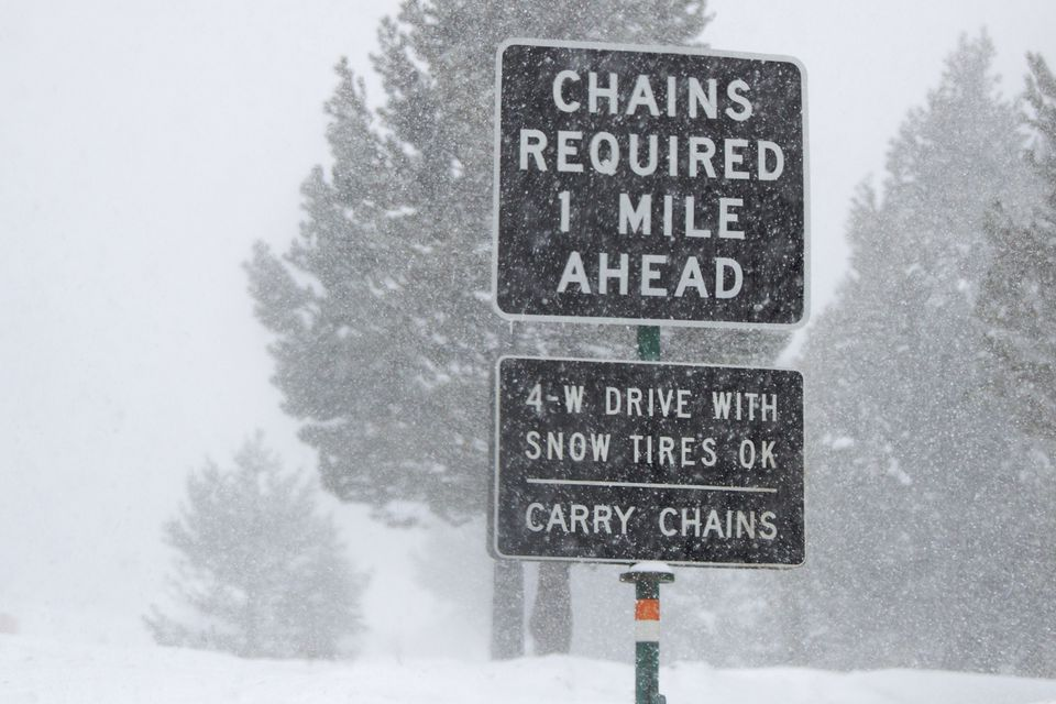 Snow Chains Required sign