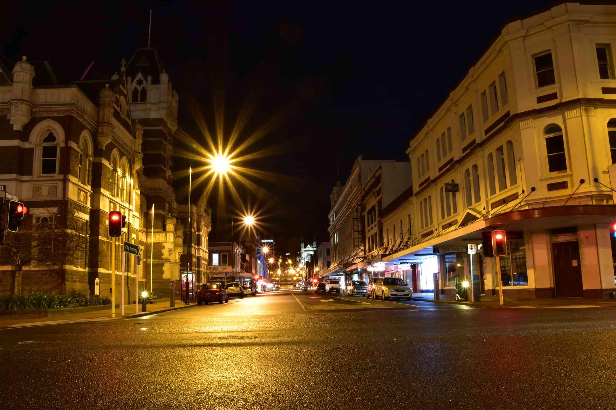 street scene of central Dunedin city at night