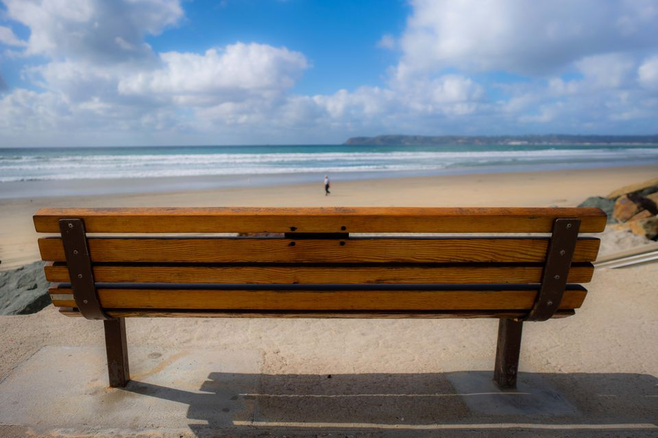 A bench at the beach on Coronado Island