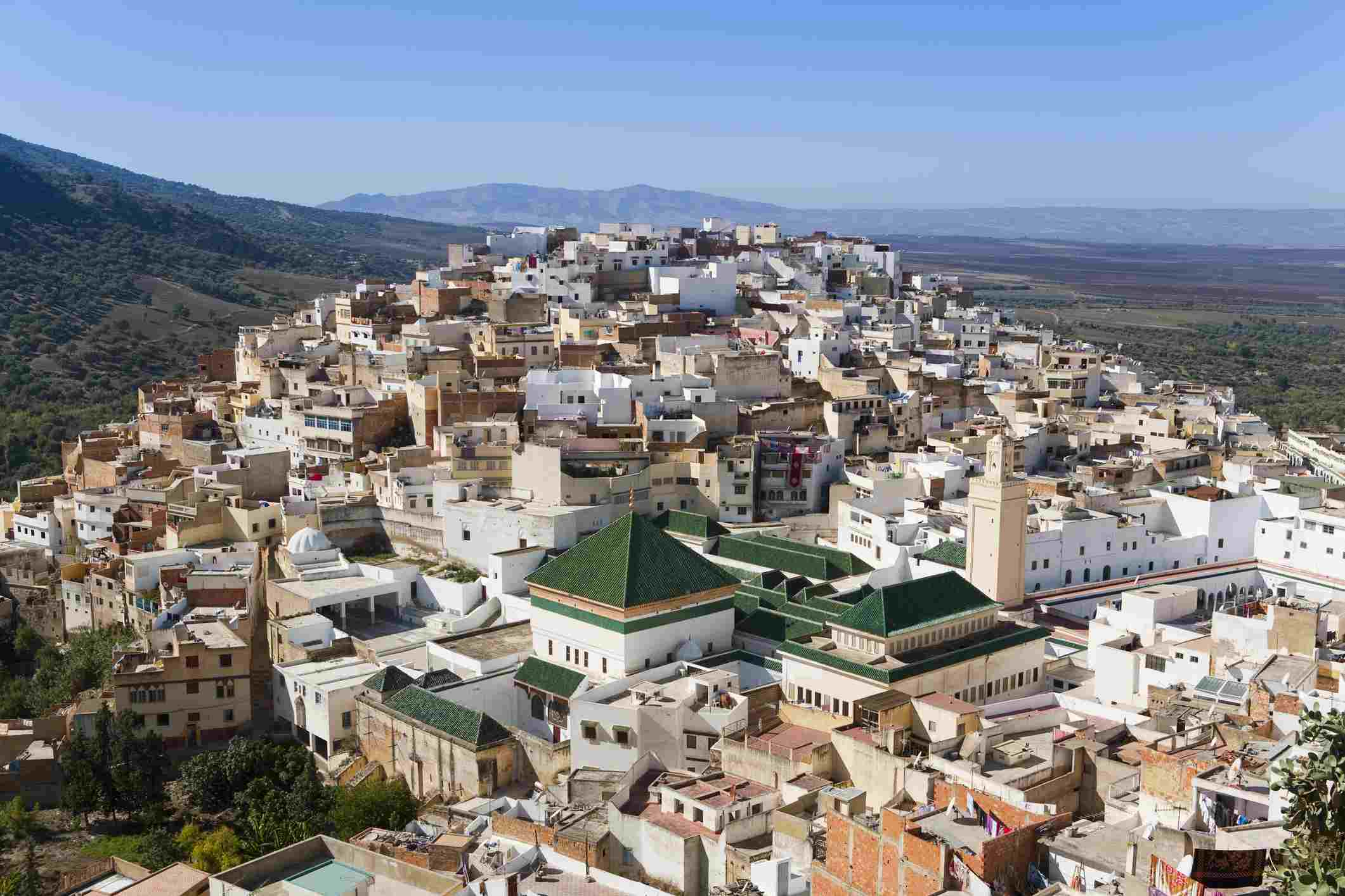 Mountain town of Moulay Idriss near Volubilis and Meknes