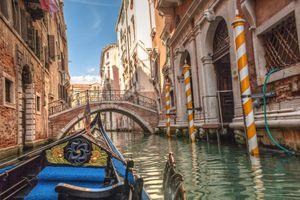 POV of a gondola ride in venice, italy