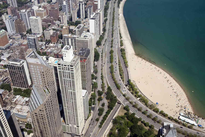 Looking down on Oak Street Beach in Chicago