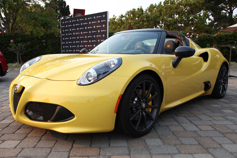 Yellow sports car on display at Monterey Car Week