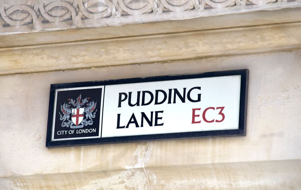London's Pudding Lane street sign near London Bridge.