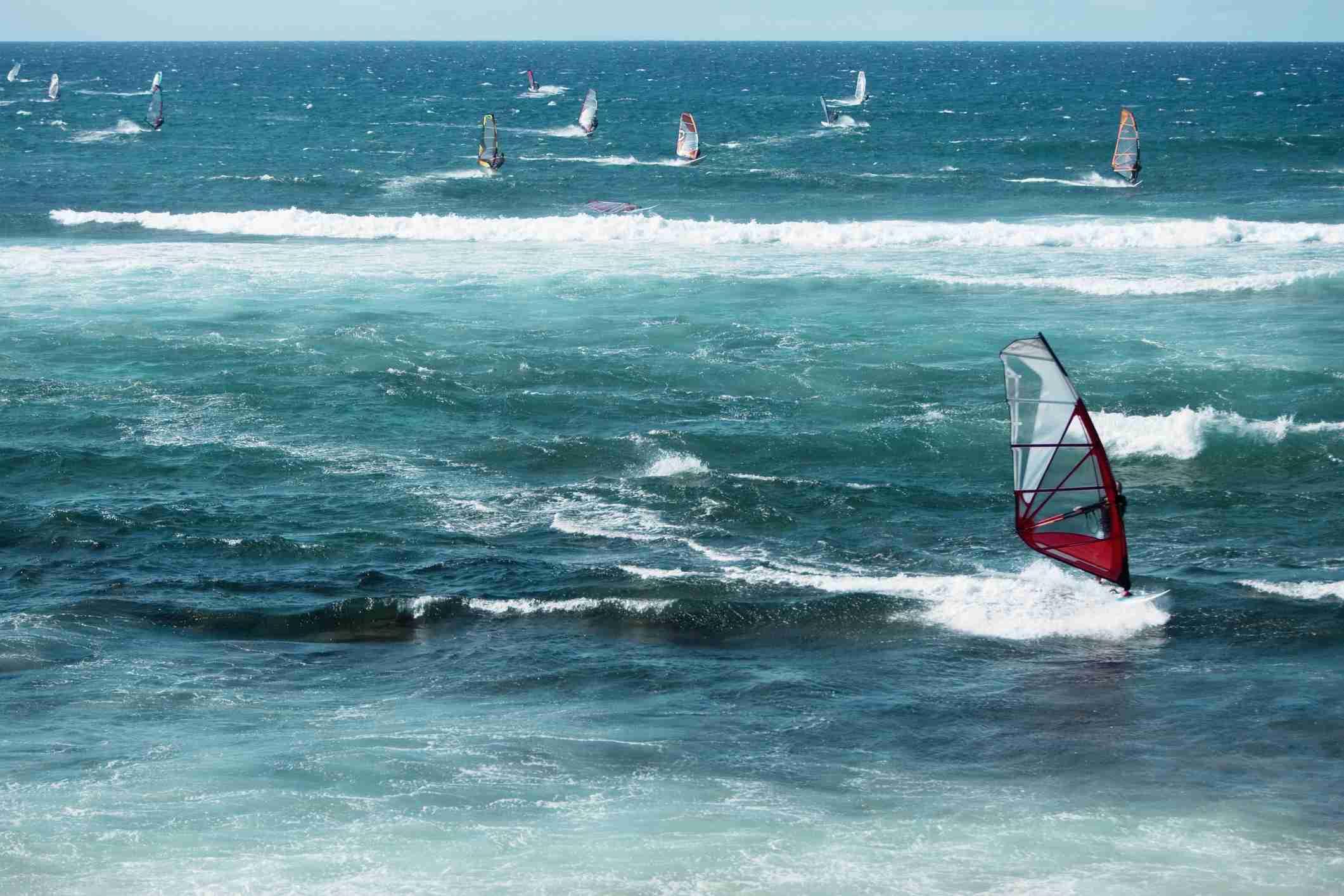 Windsurfing boards in the sea, Hookipa Beach, Maui, Hawaii Islands, USA