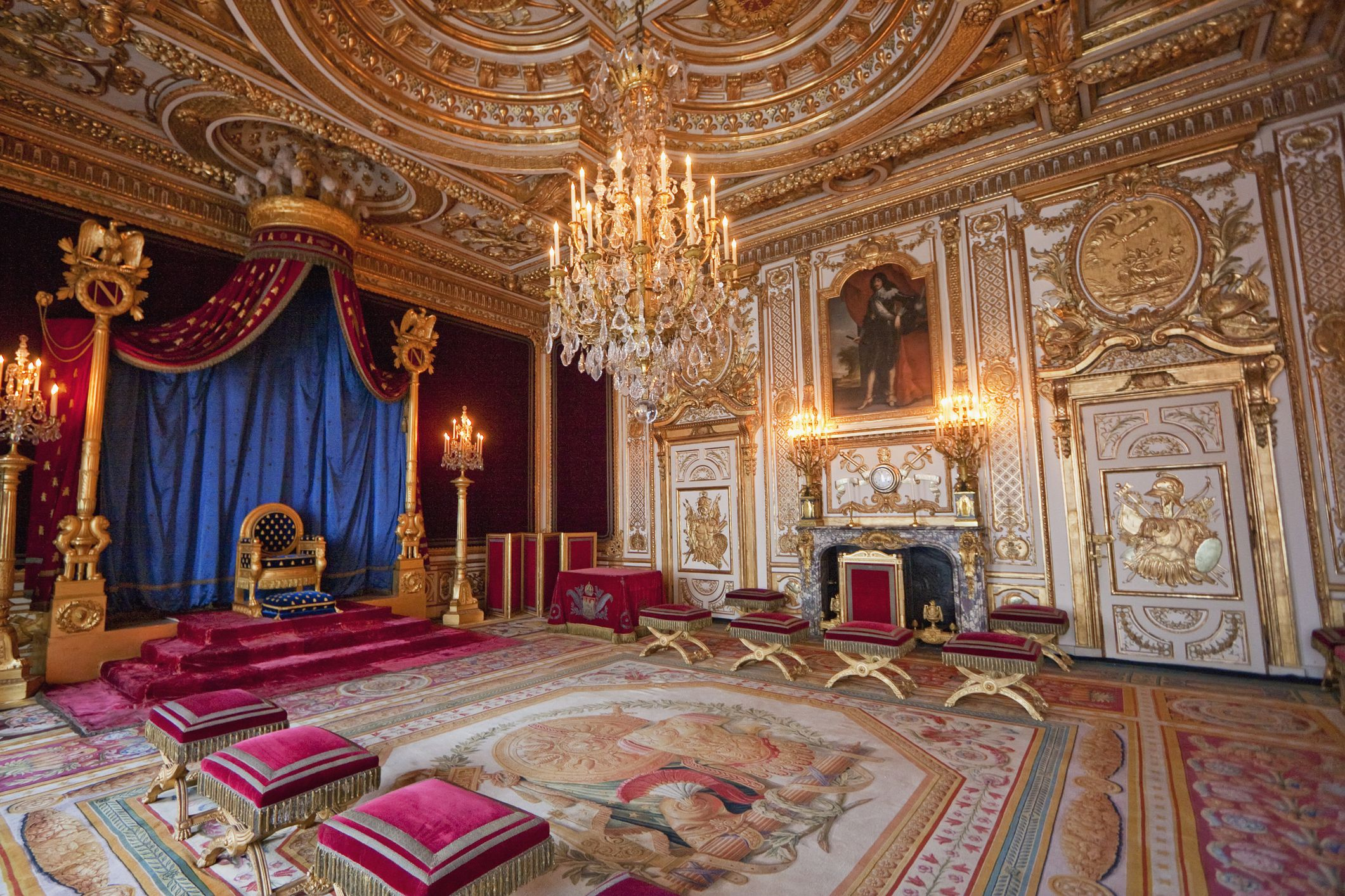 The Throne Room in the Palace of Fontainebleau, Fontainebleau, Seine-et-Marne, France