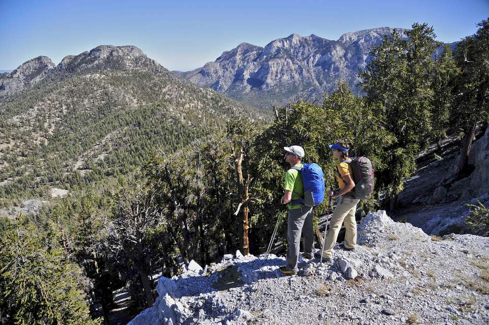 Couple hiking, Mount Charleston Wilderness trail, Nevada, USA