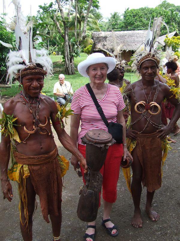 Marvel Paull and Tribesmen from BilBil Village near Madang, Papua New Guinea