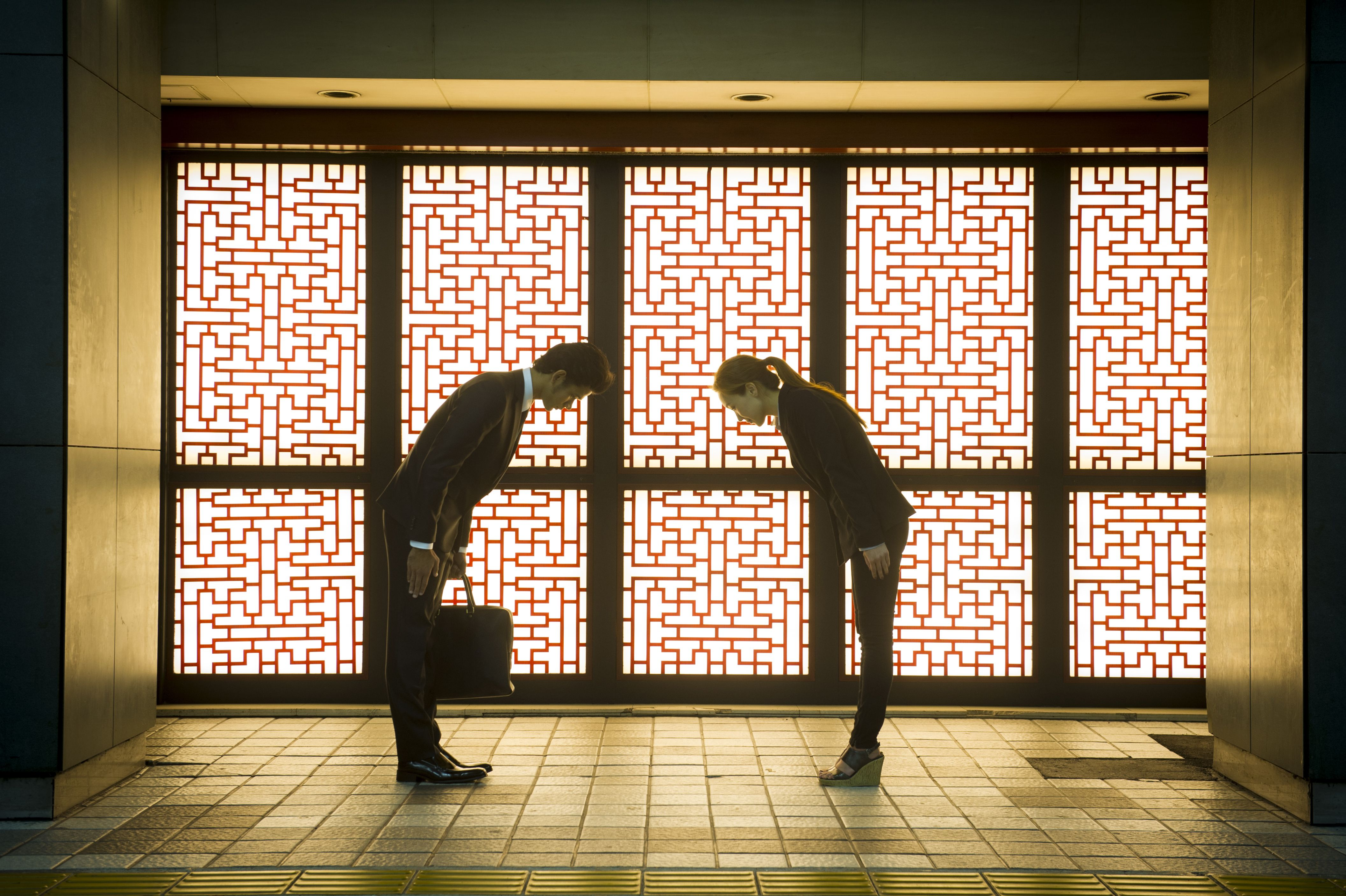 In Japan, you should bow in greeting and to say goodbye.