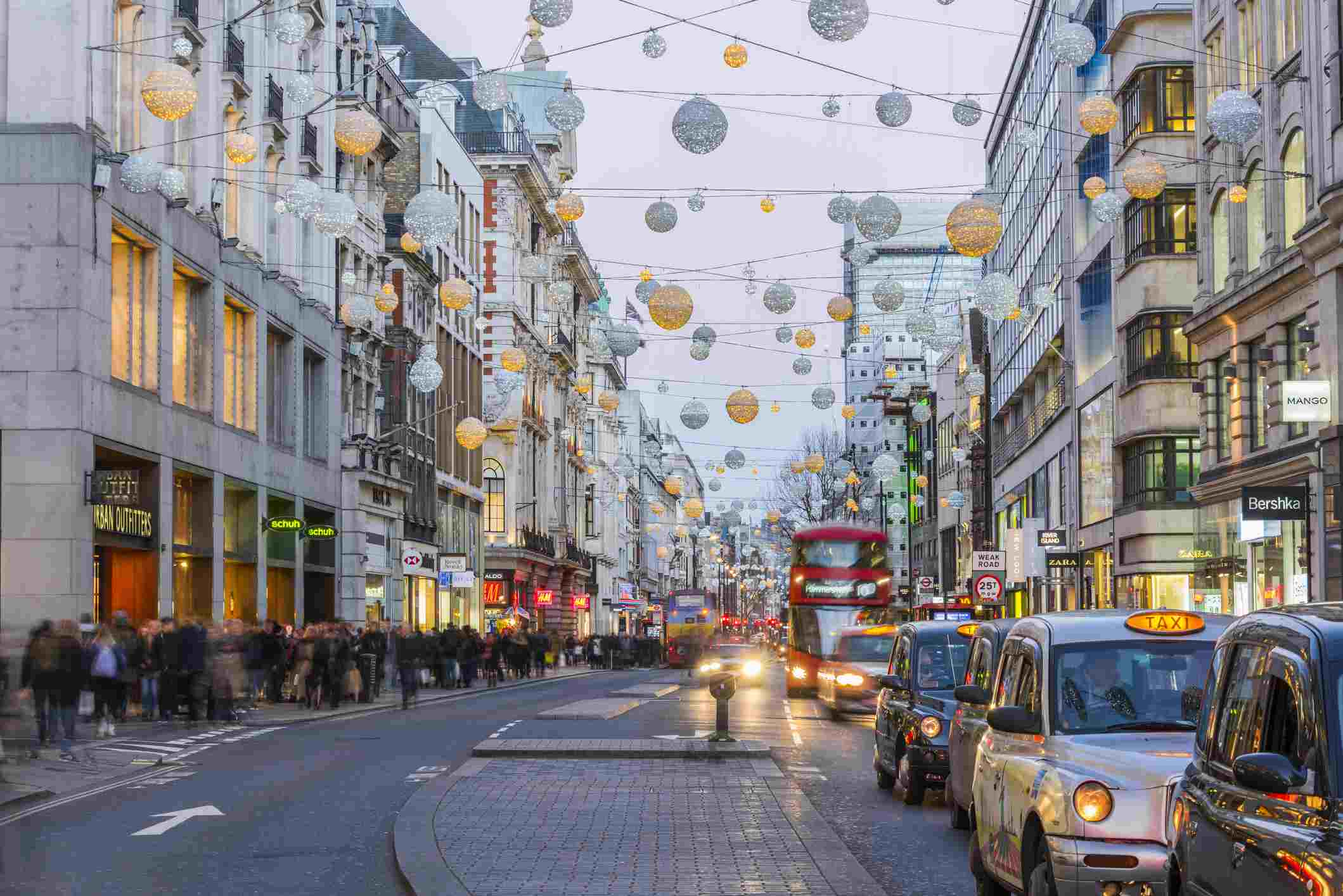 Christmas Lights, Oxford Street, West End, London, England