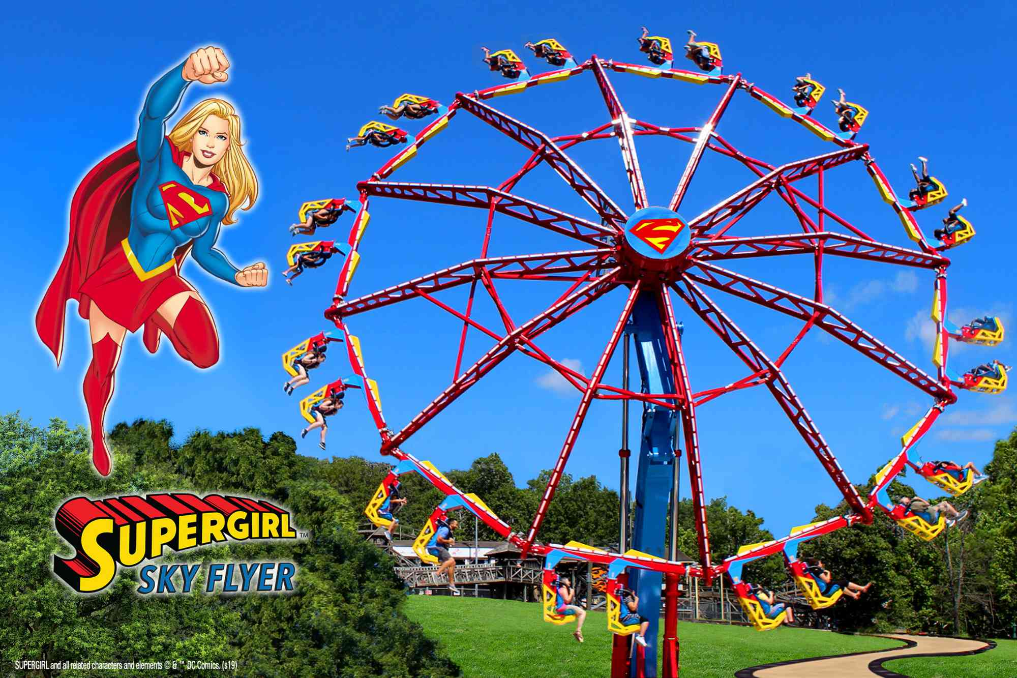 Supergirl Sky Flyer at Six Flags New England