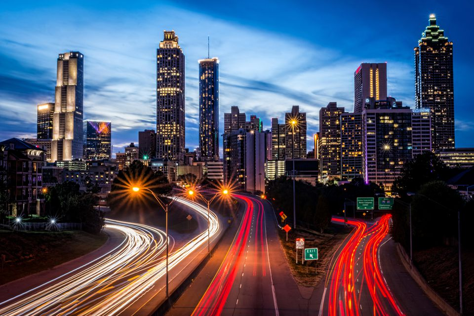 Atlanta skyline at night