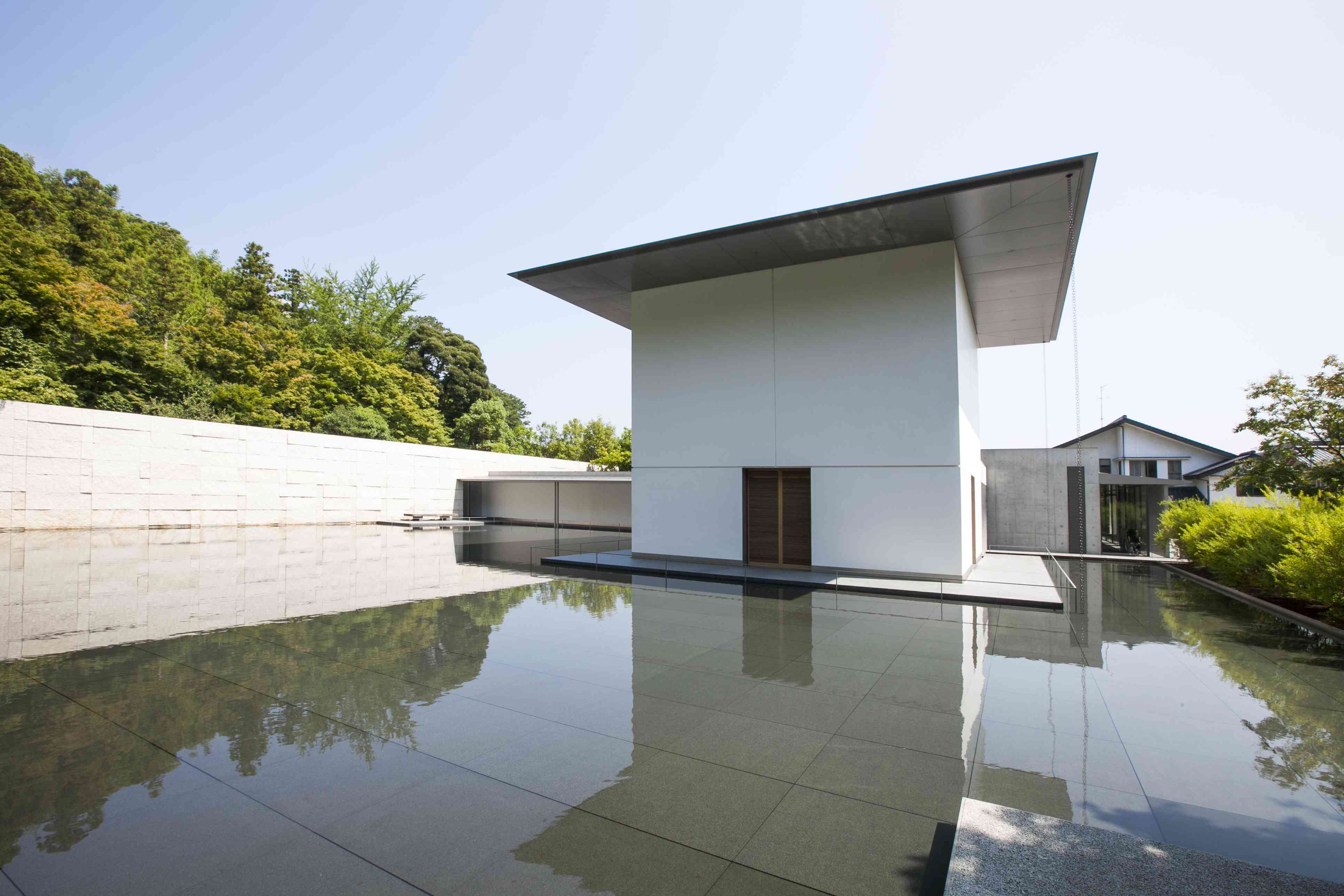 D.T. Suzuki Museum entrance with a reflective pool in front of it